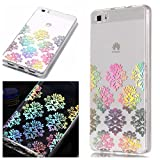 Huawei P8 Lite Case, BONROY Laser Colorful Huawei P8 Lite Case Clear Feather Pattern Design Silicon TPU Gel Rubber Cover Ultra Thin Slim Protective Bumper Shockproof Transparent Skin Shell Cute Elegant Kawaii Personalised Designer - Laser Snowflake