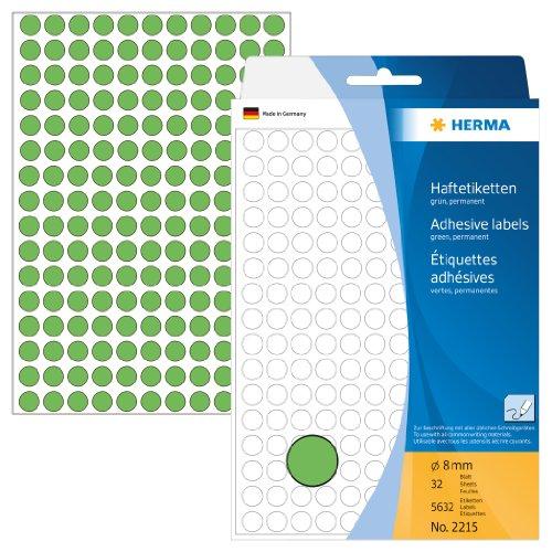 Herma 2215 Vielzweck Etiketten farbig grün, rund (Ø 8 mm) 5.632 Markierungspunkte, 32 Blatt Papier matt, selbstklebend, Handbeschriftung