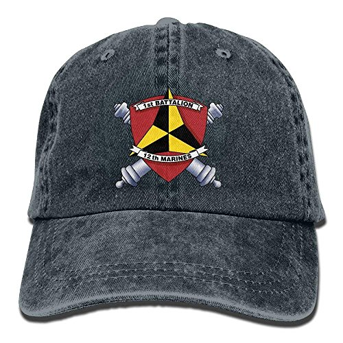 Hoswee Unisex Kappe/Baseballkappe, 1st Battalion, 12th Marines Decal Stiker Vintage Adjustable Cowboy Hat Baseball Cap for Man and Woman (Fantastischen Vier Decal)