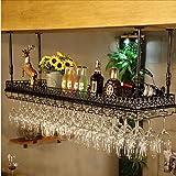 CDBL barra de bar mostrador de bar estante de vino restaurante hogar copas de vino estante invertido retro arte de hierro bastidores de vino Bastidores de Stemware (Tamaño : 80*35cm)
