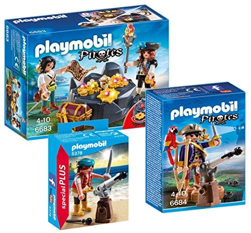 Playmobil 3-teiliges Piraten-Set - bestehend aus: 6683 Piratenschatzversteck, 6684 Piratenkapitän und 5378 Pirat mit Kanone