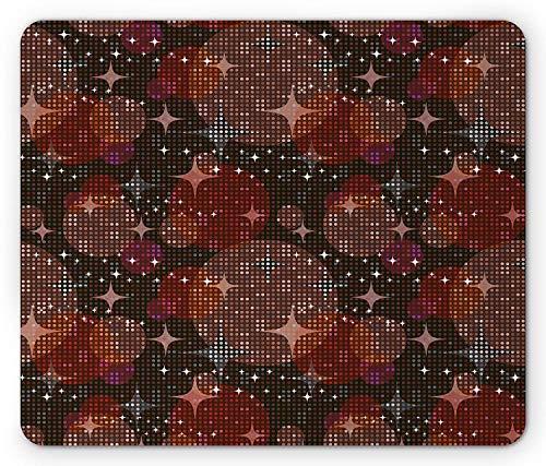e Pad, Disco Lights Pattern Party Nightclub Theme Dots Star Shapes Mosaic Design Print, Standard Size Rectangle Non-Slip Rubber Mousepad, Multicolor ()
