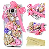 Samsung Galaxy S8 Plus Case ,Galaxy S8 Plus Bling Case - Mavis's Diary 3D Handmade Bling Pink Bow Rhinestone Diamonds Luxury Crystal Crown Key Diamonds Fashion Bag [Full Edge Protection] Hard PC Transparent Cover