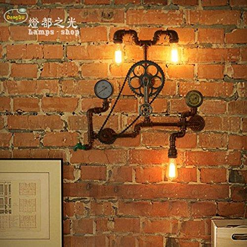 GaoHX Light Artes Creativas Industrias Forja Pared Vintage Tubo De La Lámpara Lámpara De Pared De Pasillo De Loft Café Bar Del Engranaje