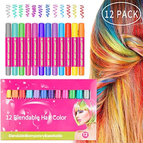MojiDecor Haarkreide Gesichtsbemalung Glitter Temporäre Haarkreide, 12 Farben Hair Chalk Set für Karneval, Halloween, Partys, temporäre Haarfarbe ungiftig, auswaschbar, Arbeiten auf allen Haararten