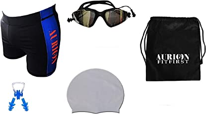 AURION Swimming Shorts, Goggles, Cap and Ear Plugs Aegend Mirrored Swimming Goggles No Leaking Anti Fog UV Protection Triathlon Swim Goggles with Free Protection Case for Adult Men Women Youth