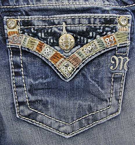 Miss Me Damen Jeans Gr. 34, mittelblau (Miss Me Bootcut Jeans)