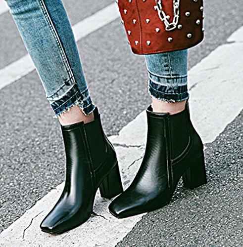 56809ffb097 Noir Femme Talon Bout Bloc Moyen Low Bottines Boots Mode Carré Aisun  z4OUgxqq