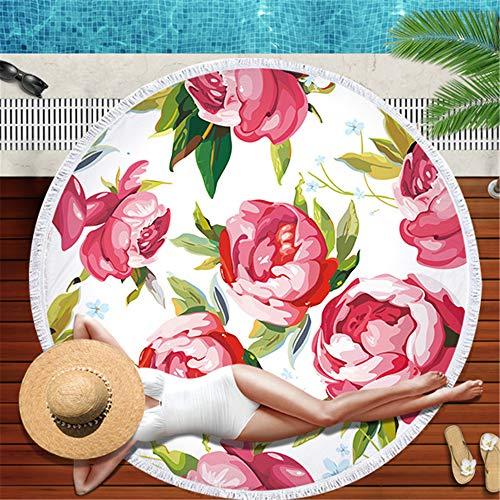 Lyjzh telo mare rotondo- scialle per il tovagliolo da bagno con tappetino da bagno con tappetino da picnic in microfibra con fiori e piante tropicali -03 150 * 150cm
