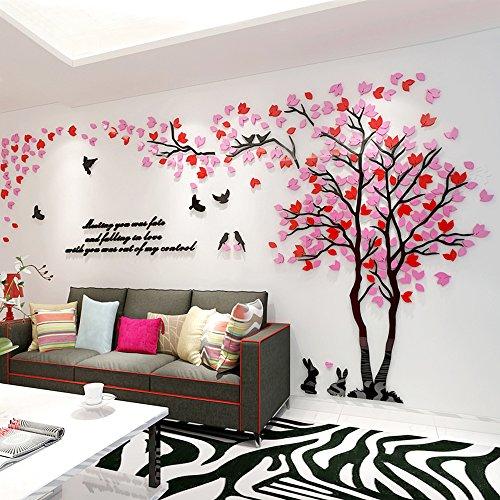 Alicemall 3d adesivi murali wall sticker forma albero adesivi da parete in acrilico foresta con foglie rosa e rosse