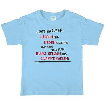 Lustiges Kinder T Shirt Mit Spruch   Erst Hat Man Laufen Und Reden Gelernt  Und Nun Soll Man Ruhig Sitzen Und Klappe Halten! (92): Amazon.de: Baby