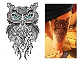 Tatuaggi temporanei Temporary Tattoo Tatuaggio Falso–Gufo Occhi azzurri -
