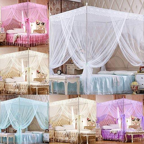 King-size-queen-size-bett-rahmen (LC-Home Decor romantische Prinzessin Spitzen-Moskitonetz ohne Rahmen für Doppelbett, King-Size-Bett, violett, Queen)