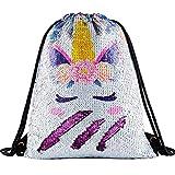 Deeplive Fashion Sac à Dos en Forme de sirène à Paillettes avec Cordon de Serrage, Sac à bandoulière Magique réversible pour Danse, Sac à Dos de Sport, Cute Unicorn/Purple