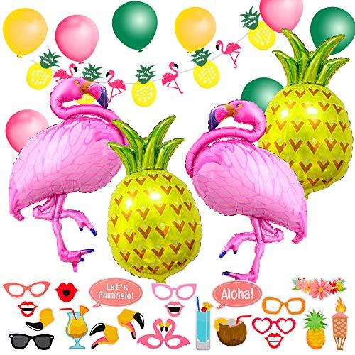 MMTX 56 Stück Hawaiian Beach Party Dekoration, Tropical Sommer Party Supplies mit Flamingo Ananas Helium Ballons, Dekor Garland Bunting Banner und Foto Requisiten Sommerfest Hochzeit Geburtstag. - Ananas-banner