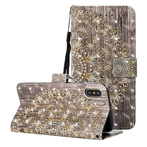 Etui Housse iPhone X Case,Coque Cuir iPhone X Housse Rosa Schleife iPhone 10 Folio Cuir Portefeuille Ultra Slim Leather Wallet arriere Housse Book type Téléphone etui de protection Pochette etui a rab 1-a10