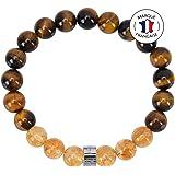 Bracelet Abondance et Prospérité - Pierres Naturelles certifiées en 8mm - Œil de tigre d'Afrique du Sud / Citrine du Brésil -