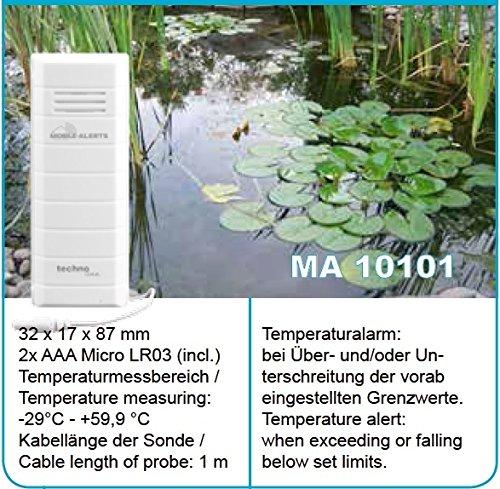 Mobile Alerts MA 10101 Temperatursender, Zusatzsender, perfekt zur Überwachung der Temperatur von Aquarium oder Gartenteich, Datenübertragung auf Ihr Smartphone, Alarmierung vi Push-Mitteilung, weiß, 3,2 x 1,7 x 8,7 cm