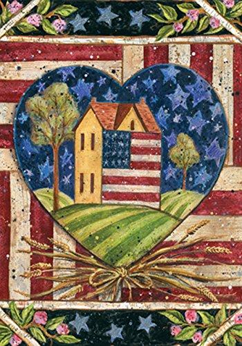 American Folk-flag (Toland Home Garden American Folk Herz Flagge 111156, Polyester, 28