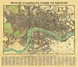Old Vintage Map of London. MOGG'S Strangers Guide to London 1834. Linen Backed, Folding Map. (42cm x 50cm)