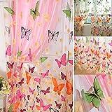 Bellissima farfalla finestra, Zzm lavato tenda per bambini, stanza balcone cucina decorazione Draperies voile 1PCS, 2 m
