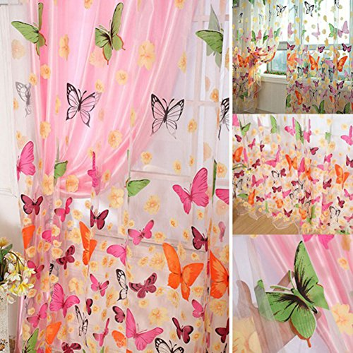 Schöne Schmetterling Gardinen, ZZm gewaschen Vorhänge Kinder Betten Zimmer Balkon Deko für Küche Vorhänge Voile 1, 2 m (Gardinenstange 28x48)