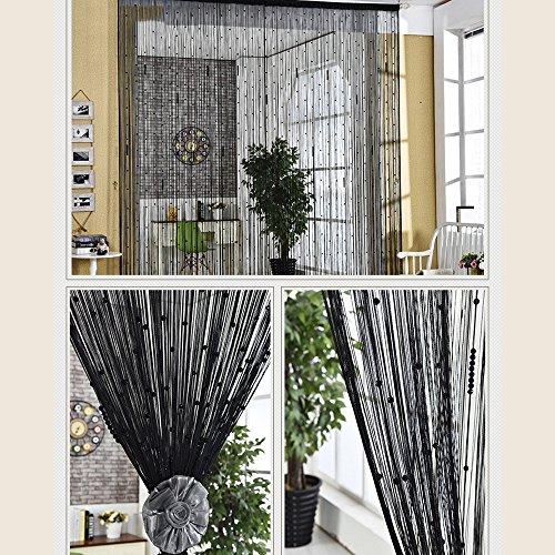 WUFENG Vorhang Kristall Perlen Vorhang Glas Linie Vorhang Eingang abgeschnitten Kundengerecht 5 Farben, 13 Größen Vorhänge (Farbe : SCHWARZ, größe : 1.5x2m)