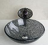 AllureFeng Europäische handbemalte gehärtetes Glaswaschbecken mit Mixer Set schwarz / weiß modernes Bad tempered Glas Waschbecken-Set zu knacken