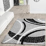 T&T Design Moderner Hochflor Teppich Shaggy Vigo Gemustert in Grau Schwarz Creme Top Preis!, Größe:160x220 cm