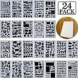 24 Pezzi Diario Planner Stencil, Set di Modelli di Disegno, Bullet Stencil 4 x 7 Pollici per A5 Taccuino, Include Parola Stencil, Numero Stencil, Disegno Stencil, Icone, Lettere, Forme e Altro