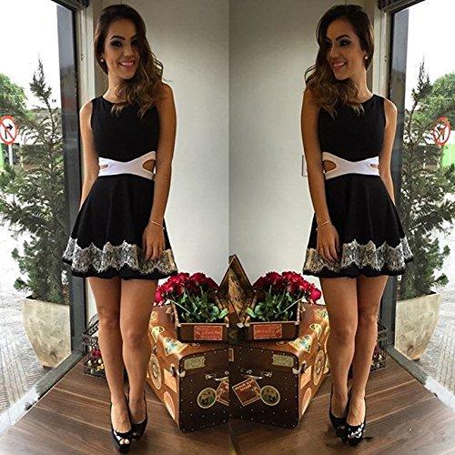 Minetom Femmes D'Été Sexy Lady Sans manches Casual Cocktail Dress Casual Slim Court Mini Robe Noir