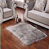 Faux Lammfell Schaffell Teppich 50 x 150 cm Lammfellimitat Flauschigen Teppiche ,Gemütliches Schaffell Bettvorleger Sofa Matte (Grau)