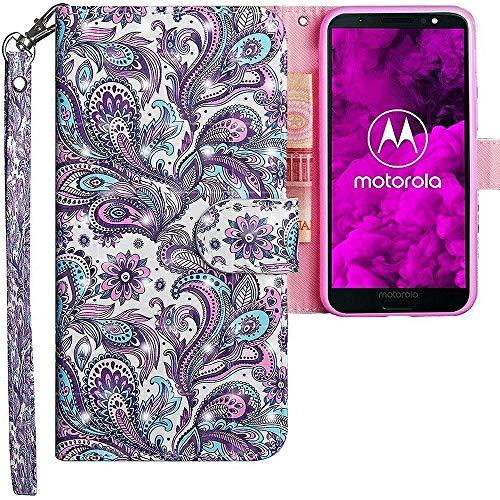 CLM-Tech Motorola Moto G6 Hülle, Tasche aus Kunstleder, Blume Ornament lila blau, PU Leder-Tasche für Moto G6 Lederhülle