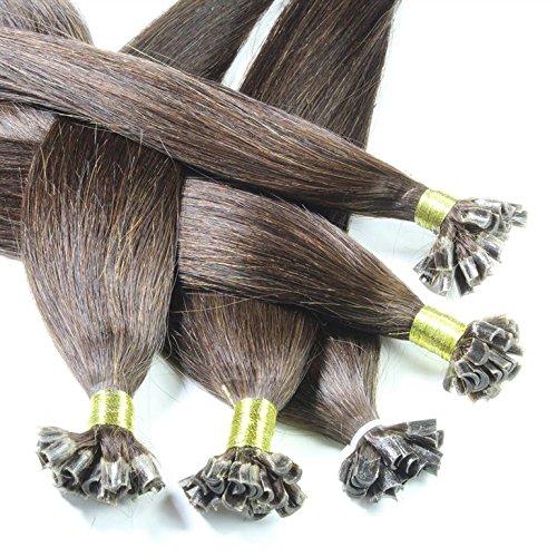 hair2heart 50 x Bonding Extensions aus Echthaar, 60cm, 1g Strähnen, glatt - Farbe 2 dunkelbraun