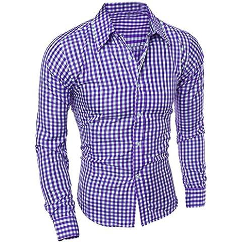 Camisas casual, Oyedens Camisa Otoño Y Del Invierno Manga Larga A Cuadros Auto-cultivo De Los Hombres De La Blusa Superior,