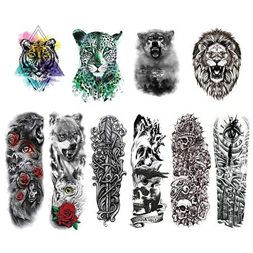 Grandi tatuaggi temporanei braccio, cool half arm tattoo animal impermeabile tatuaggio finto adesivi rimovibili per body art per braccia e gambe- 10 pezzi