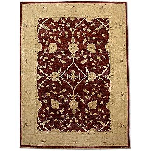 Agra Tappeto in lana, fatta a mano, rettangolare, colore: rosso,