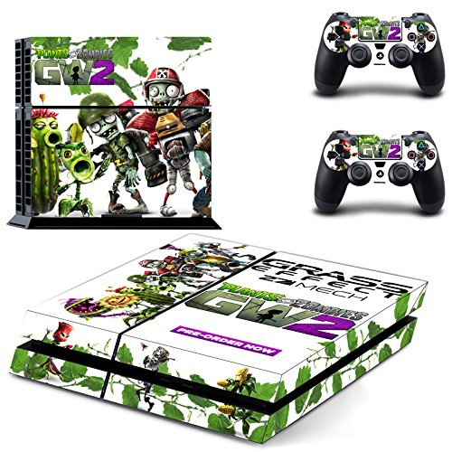 Playstation 4 + 2 Controller Aufkleber Schutzfolie Set - Plants vs. Zombies /PS4