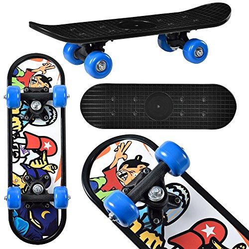 Mini-Skateboard von [pro.tec] Komplett-Board für Anfänger & Kinder bis 25 kg - 44x13x10 cm - blaue Rollen & schwarzes Deck im Retro-Design - flexibles Brett mit Kugellager-Aufhängung zum Skaten lernen - Motiv A: Hippster