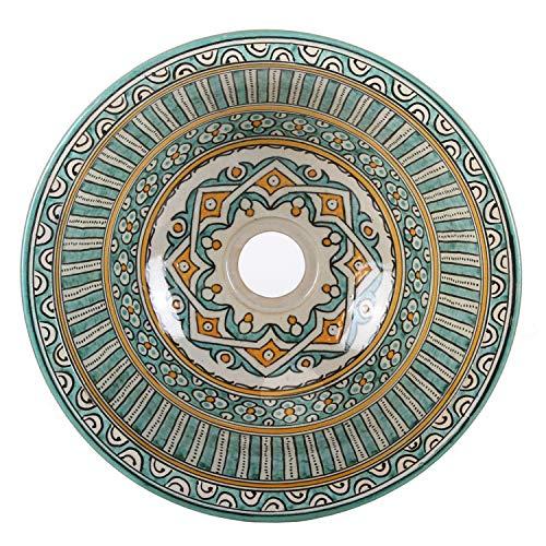 Orientalische Keramik-Waschbecken Fes111 Ø 35 cm bunt rund | Marokkanische Aufsatzwaschbecken handbemalt Handwaschbecken für Küche Badezimmer Gäste-Bad | Einfach schöner Wohnen