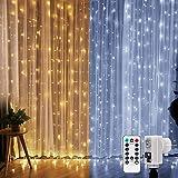 LE 3m x 3m Lichtervorhang, LED Lichterkette 300 LEDs Kaltweiß und Warmweiß dimmbar, 9 Modi mit Fernbedienung, Strombetrieben mit Stecker, ideale Weihnachtsdeko für Innen, Deko, Haus, Fenster usw.