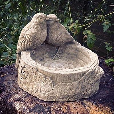Bird on Log Feeder / Bath Garden Ornaments. Reconstituted stone from Sparta