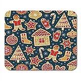 Mau Mat,Weihnachten Winter Muster Lebkuchen Kekse Super Urlaub Weihnachten Für Stoffe Kindisch Mauspad 25 X 30 Cm