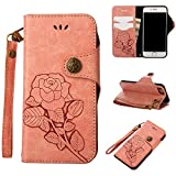 iPhone 6 Case Pink,iPhone 6s Flip Case,Slynmax Floral Vintage Rose Design Flip Folio PU Leather Wallet Case Soft TPU Inner with Magnetic Closure Stand Function Credit Card Holder Pouch Hand Strap Shockproof Drop Proof Shell for Apple iPhone 6/iPhone 6s + 1* Stylus Pen