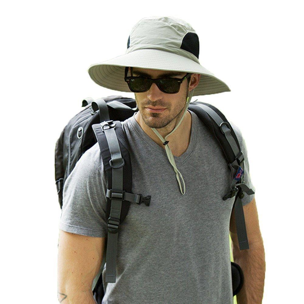 Mens Wide Brim Sun Hat Unisex Waterproof Safari Hat Packable Fishing