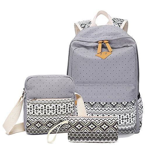 Zaino delle ragazze,CulturesIn 3 pezzi di svago Zaino Canvas Gli studenti Bookbag Laptop Backpack Zaini Vento nazionale della moda Borsa a tracolla (gray) gray