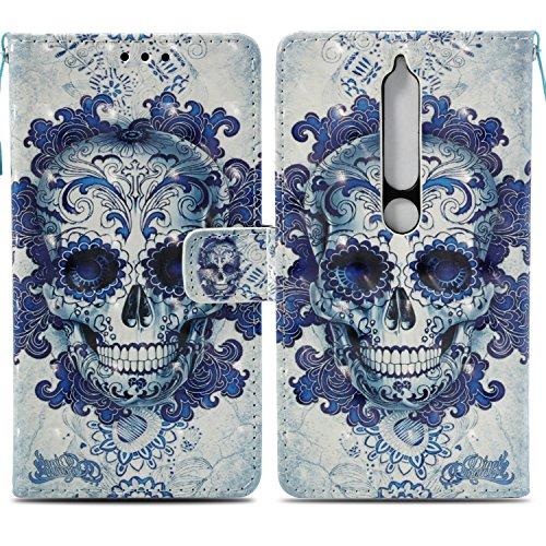 Ooboom Nokia 6.1/Nokia 6 2018 Hülle 3D Flip PU Leder Schutzhülle Stand Handy Tasche Brieftasche Wallet Case Cover für Nokia 6.1/Nokia 6 2018 - Schädel Blau
