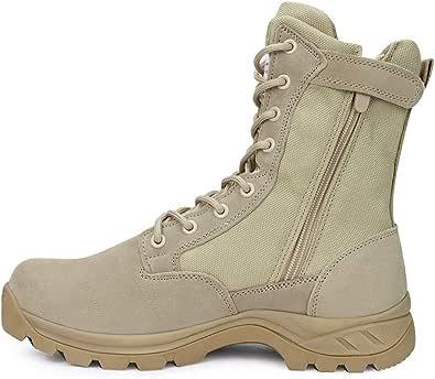 LUDEY Hommes Bottes Militaire avec Fermeture Latérale, Bottes Patrouille Combat Tactique Recrues Armée Désert Sécurité Militaire Chaussure IDS-928