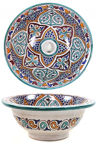 Orientalisches marokkanisches Keramik Waschbecken Waschschale Aufsatzwaschbecken - Marrakesch 006-40cm