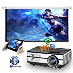 Mini WiFi Projector with Bluetooth, LED Portable Wireless Smart Android Bluetooth Home Theater Outdoor Movie LCD Video...